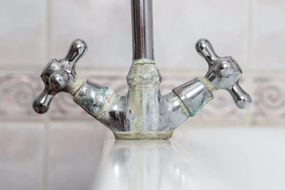 Hard Water on Faucet Knobs