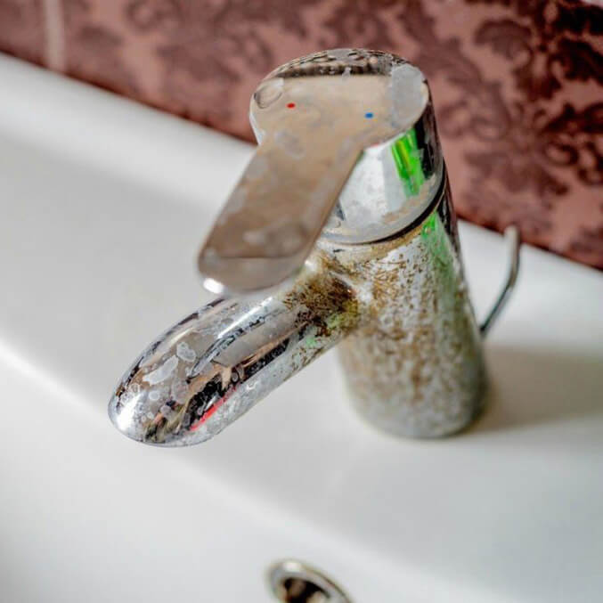 Hard Water Builldup on Sink Faucet